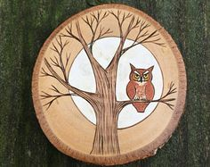 Wood burned and painted red screech owl in a tree with a full moon behind him. Woodland wall hanging, ornament or magnet