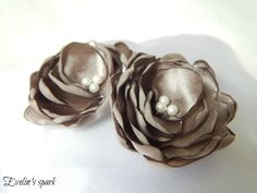 Silver and brown color flower ring pillow Wedding by BridesbyEve