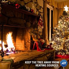 Be smart around the heating sources in your home. Keep curtains, decorations and most importantly, your #holiday tree away from furnaces and fireplaces. #StaySafe #Heating #HappyHolidays #FirePrevention #ADT