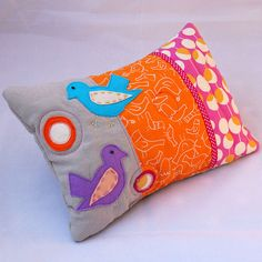 SOLD- Bright Birds Applique Lavender Pillow | Flickr - Fotosharing!