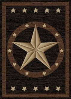 Texas Western Star Rustic Cowboy Decor Black Brown Area Rug *Free Shipping* in Home & Garden, Rugs & Carpets, Area Rugs | eBay