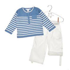 Jersey Ian rayas blanco/tinta + Pantalones Brad blanco roto
