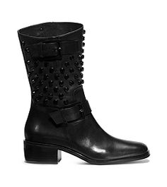 #MichaelKors #Chaussures #Shoes Studded Leather, Leather Boots, Rock Chic, Biker, Classy, Michael Kors, Shoes, Fashion, New Shoes