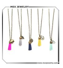 Mix colors!long women's vintage bronze bee anchor charm pu leather tassel pendant necklace jewelry