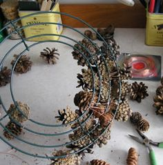 how to attach pine cones...