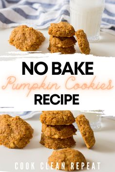 These delicious no bake pumpkin cookies are easy to make and perfect for sharing. These tasty and easy cookies are a great fall recipe! Pumpkin Cookie Recipe, Pumpkin Cookies, Pumpkin Recipes, Fall Recipes, Great Recipes, Cookie Recipes, Cooking Pumpkin, Baked Pumpkin, Yummy Treats
