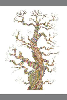 Growth, by Carrie Marill. Tree art via Illustrations, Illustration Art, Thich Nhat Hanh, Paper Drawing, Art Plastique, Tree Art, Art World, Art Lessons, Art Projects