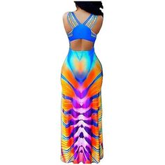 Women's Sexy Print Maxi Dress for Evening Party Summer Straps Sundress (£12) ❤ liked on Polyvore featuring dresses, blue, sexy maxi dresses, sexy evening dresses, cocktail party dress, sexy blue dress and sexy cocktail dresses