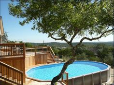 Above Ground Pool Decks With Landscape,