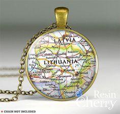 Lithuania map pendant charm