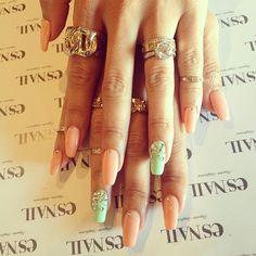 Nails, Nail Art, Nail Design, esNAIL, Square Nails, Long Nails, Peach, Mint, Green, Rhinestones,