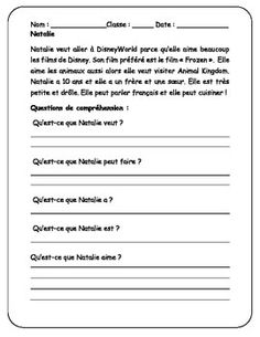 Pictures French Reading Comprehension Worksheets - Beatlesblogcarnival