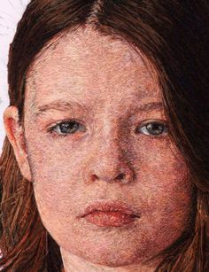 American artist Cayce Zavaglia makes embroidered portraits. That's right, she sews threads to mimic the way brush marks are layered within a painting.  http://mamaesabetudo.blogspot.com.br