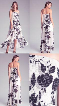 Bebe White FLoral Smocked Ruffle Maxi Dress