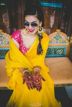 35 Trendy Haldi Outfit Ideas for the Bride Mehndi Outfit, Mehndi Dress, Mehendi, Function Dresses, Ceremony Dresses, Wedding Dresses, Party Dresses, Haldi Ceremony, Saree Trends
