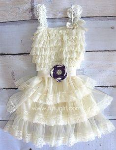 Vintage Lace Tutu Dress for Girls Ivory Flower Girl by TutuGirl, $47.99