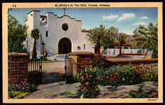 """paperinkgraphics id: pc az 8 Tucson Arizona Postcard 1944 St Philips in the Hills PC Postally Used. Postmarked 1944 Tucson. Divided back. Linen. Standard size postcard measures approximately 3.5"""" x 5."""