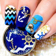 Instagram photo by maespiritu_artofnail #nail #nails #nailart  nautical beach…