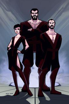 Love how DennisBudd takes the Superman 2 villains and makes them look like comic/cartoon characters. Supervillians by DennisBudd.deviantart.com on @deviantART
