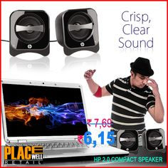 HP Compact 2.0 Speakers http://www.placewellretail.com/hp-compact-2-0-speakers Buy HP 2.0 Compact Speakers only for Rs. 615.0 from placewellretail.com. Only Genuine Products. Cash On delivery.