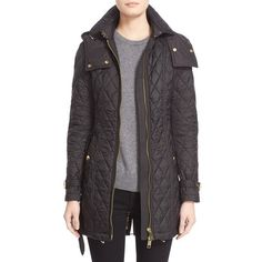 Burberry Brit 'Bellbridge' Technical Quilted Parka ($895) ❤ liked on Polyvore featuring outerwear, coats, black, burberry, toggle coat, quilted coat, burberry parka and quilted parka