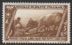 Stamp Italy SC 0290 1932 Plowing Oxen Tractor Fascist Gov... - bidStart (item 30646540 in Stamps... Stamp Day)