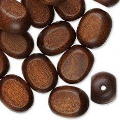 25mm x 20mm dark brown wood flat ovals, 6 pcs