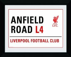 Amazon.com: Liverpool Anfield Road (Liverpool Football Club) Street Sign Soccer Football Sports Photography Framed Poster Print 12x16: Kitchen & Dining