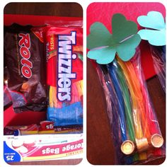 I made that: rainbow licorice gift bags. Super Easy. Rainbow licorice + rolos for the pot-o-gold. Assemble in a storage size zip lock bag. Fold over extra bag & tape it. Add a homemade shamrock and you're good to go. Kids loved it for St. Patrick's Day