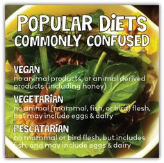 Adventures of Wunder Budder...: Popular Diets, Commonly Confused: Vegan, Vegetarian, Pescatarian