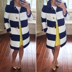 Kate Spade striped Franny coat with bow back, Asos yellow skirt, lace top, J.Crew gold metallic pumps outfit // StylishPetite.com
