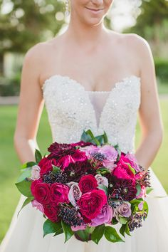 red and purple bouquet | Elyse Hall Photography | Glamour & Grace