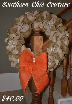 The Southern Couture by TheSouthernCouture Burlap Wreaths, Fall Wreaths, Mesh Wreaths, Arts And Crafts, Diy Crafts, Some Ideas, Wreath Ideas, Fall Decorating, Door Hangers
