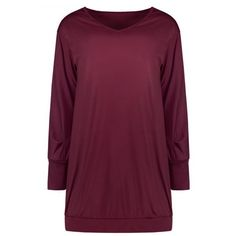 Stylish Plunging Neck Long Sleeve Solid Color Pocket Design Women's... ($15) ❤ liked on Polyvore featuring dresses, long sleeve plunge neck dress, plunge-neck dresses, purple dress, long sleeve dresses and longsleeve dress