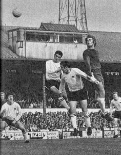 11th October 1969. ... Chelsea centre half David Webb challenged by Derby County duo John Robson and Dave Mckay.