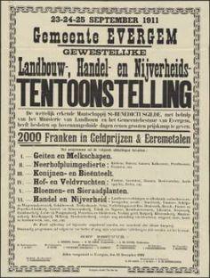 Het Huis van Alijn. Affiche voor Landbouw-, Handel- en Nijverheidstentoonstelling en -wedstrijden, Evergem, 1911