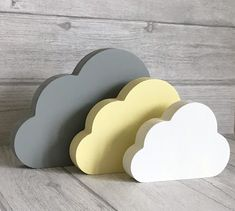 Freestanding Cloud Set Shelf Ornaments Nursery Decor Lemon & Grey Nursery Accessories Baby Shower Gift New Baby Gift New Home Gifts, New Baby Gifts, Home Design, Clouds Nursery, Cloud Nursery Decor, Cloud Decoration, Wood Nursery, Nursery Accessories, Nursery Themes