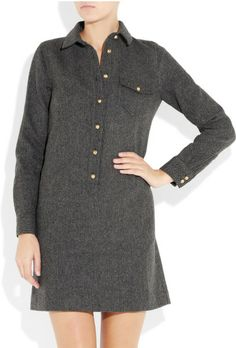 J crew herringbone wool shirtdress