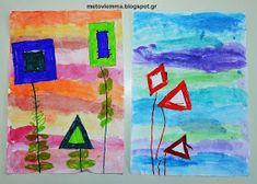 Με το βλέμμα στο νηπιαγωγείο και όχι μόνο....: Τα σχηματολούλουδά μας.Κολάζ και φύλλα εργασίας Blog, Painting, Geometric Fashion, Painting Art, Paintings, Painted Canvas, Drawings