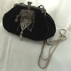 Formal velvet Clutch, 1920s black opera bag, vintage rhinestone bejeweled handbag, One of a kind Haute Couture Purse. $157.00, via Etsy.