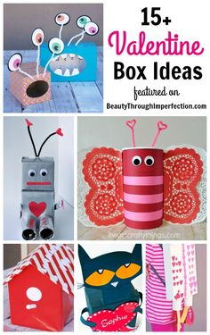 Valentine Boxes for class - Beauty through imperfection - 15 of the cutest Valentine box ideas for kids - Easy Valentines Day Boxes, Homemade Valentine Boxes, Valentines Day Activities, Valentines Day Decorations, Valentines Day Party, Valentine Day Crafts, Printable Valentine, Valentine Wreath, Valentine Ideas
