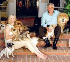 Peter Falk with his wife (and frequent Columbo guest star), Shera Danese with their doggies :)