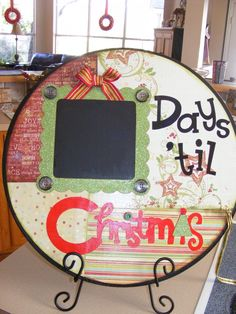 "** Recycled CD Made Into A Christmas Advent Calendar ""Days Til Christmas"""