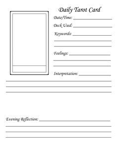 blank worksheet daily tarot card - Google Search