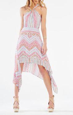 Danela Halter-Neck Geometric Print Dress