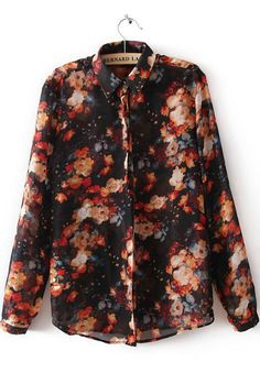 Black Lapel Long Sleeve Floral Loose Blouse 17.00 http://www.sheinside.com/