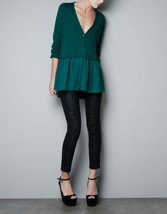 JACKET WITH SILK FRILL - Knitwear - Woman - ZARA