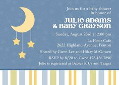 Twinkle Little Star Moon Baby Shower Invitation. $16.00, via Etsy.
