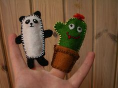Panda Bear and Cactus Finger Puppets, via Flickr.