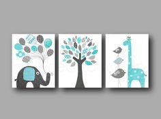 Lot de 3 illustrations pour chambre d'enfant et bebe, bleu gris